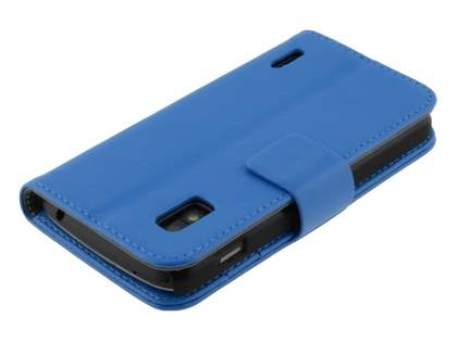 LG Nexus 4 E960 Slim Synthetic Leather Wallet Case with Stand - Blue