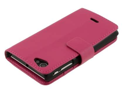 Sony Xperia J ST26i Slim Synthetic Leather Wallet Case with Stand - Pink