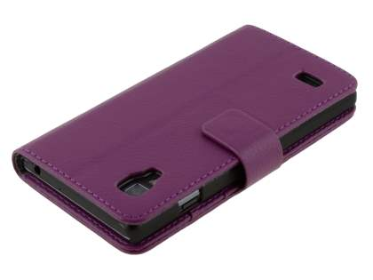 LG Optimus L9 P760 Slim Synthetic Leather Wallet Case with Stand - Purple