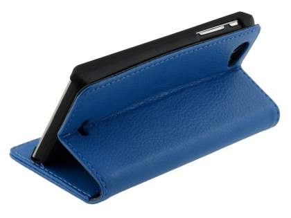 Sony Xperia J ST26i Slim Synthetic Leather Wallet Case with Stand - Blue