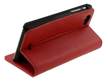 Sony Xperia J ST26i Slim Synthetic Leather Wallet Case with Stand - Red