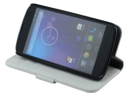 Synthetic Leather Wallet Case with Stand for LG Nexus 4 E960 - Pearl White