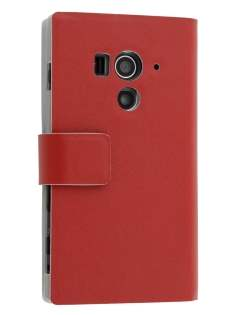Slim Genuine Leather Portfolio Case for Sony Xperia acro S LT26w - Red Leather Wallet Case
