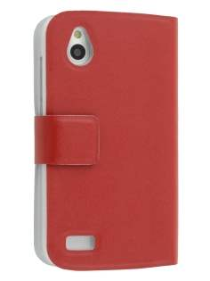 Slim Genuine Leather Portfolio Case for HTC Desire X T328e - Red