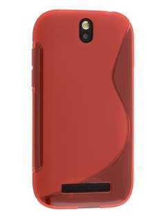 Wave Case for HTC One SV - Frosted Red/Red Soft Cover