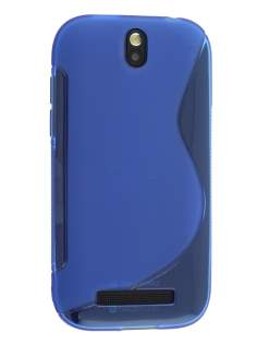 Wave Case for HTC One SV - Frosted Blue/Blue Soft Cover
