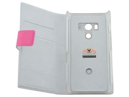 Sony Xperia acro S LT26w Slim Genuine Leather Portfolio Case - Pink