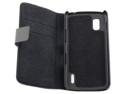 LG Nexus 4 E960 Slim Genuine Leather Portfolio Case - Classic Black