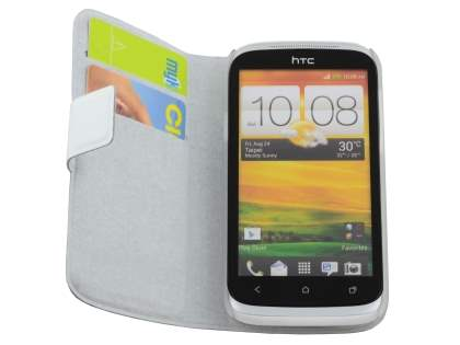 HTC Desire X T328e Slim Genuine Leather Portfolio Case - Pearl White