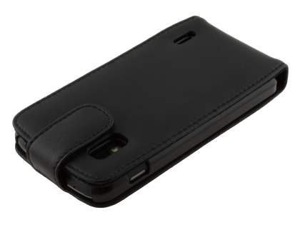 LG Nexus 4 E960 Genuine Leather Flip Case - Classic Black
