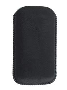 Synthetic Leather Slide-in Case with Pull-out Strap for Samsung Galaxy W I8150 - Classic Black Leather Slide-in Case