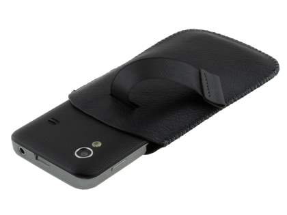 Synthetic Leather Slide-in Case with Pull-out Strap for Samsung Galaxy Ace S5830 - Classic Black