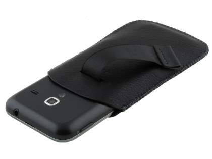 Synthetic Leather Slide-in Case with Pull-out Strap for Samsung Galaxy Ace Plus S7500 - Classic Black