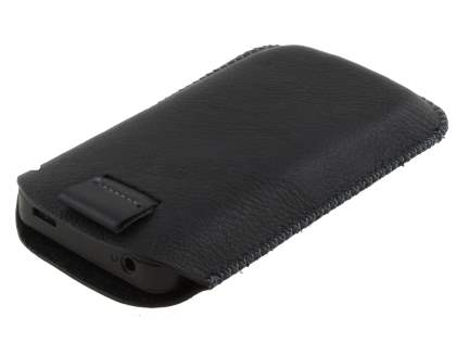 Synthetic Leather Slide-in Case with Pull-out Strap for Nokia E63 - Classic Black