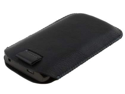 Synthetic Leather Slide-in Case with Pull-out Strap for Samsung Galaxy W I8150 - Classic Black