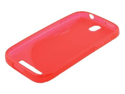Wave Case for HTC One SV - Frosted Red/Red