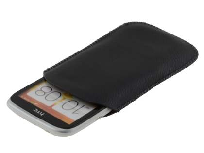 Synthetic Leather Slide-in Case with Pull-out Strap for HTC Desire X  - Classic Black