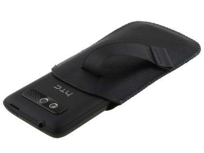 Synthetic Leather Slide-in Case with Pull-out Strap for HTC 7 Trophy  - Classic Black