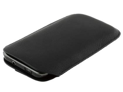 Synthetic Leather Slide-in Case with Pull-out Strap for Samsung I9000 Galaxy S - Classic Black