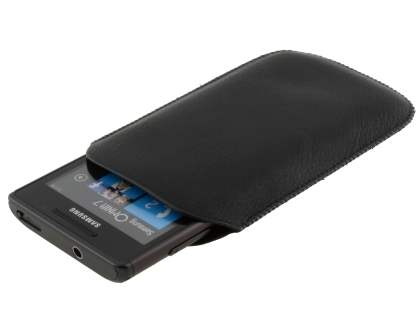 Synthetic Leather Slide-in Case with Pull-out Strap for Samsung Omnia 7 - Classic Black
