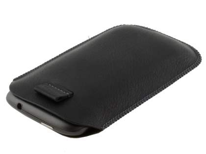 Synthetic Leather Slide-in Case with Pull-out Strap for HTC Sensation - Classic Black