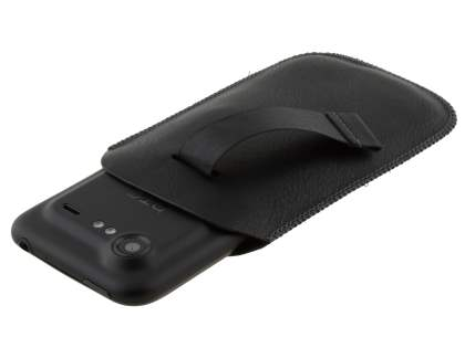Synthetic Leather Slide-in Case with Pull-out Strap for HTC Incredible S - Classic Black