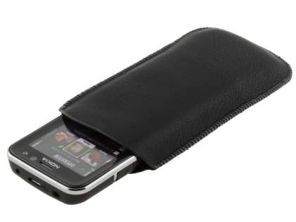 Synthetic Leather Slide-in Case with Pull-out Strap for Nokia C5 - Classic Black