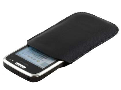 Synthetic Leather Slide-in Case with Pull-out Strap for Nokia E72 - Classic Black
