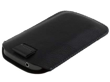 Synthetic Leather Slide-in Case with Pull-out Strap for Samsung Galaxy mini 2 S6500  - Classic Black