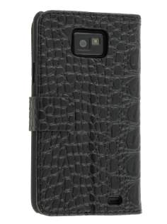 Samsung I9100 Galaxy S2 Synthetic Crocodile Skin leather Wallet Case with Stand - Black Leather Wallet Case