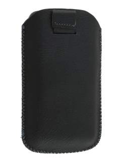 Synthetic Leather Slide-in Case with Pull-out Strap for Nokia Lumia 620 - Classic Black Leather Slide-in Case