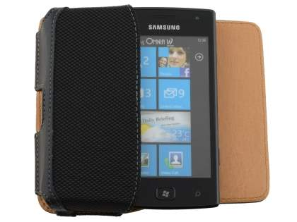 Samsung Omnia W I8350 Synthetic Leather Belt Pouch - Classic Black