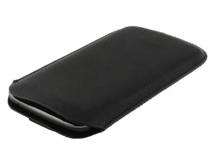 Synthetic Leather Slide-in Case with Pull-out Strap for LG Nexus 4 E960 - Classic Black
