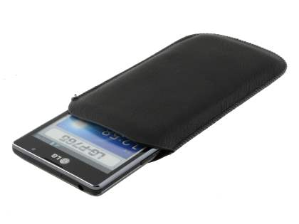Synthetic Leather Slide-in Case with Pull-out Strap for LG Optimus L9 P760 - Classic Black