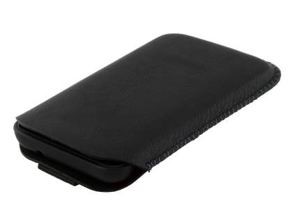 Synthetic Leather Slide-in Case with Pull-out Strap for Nokia Lumia 620 - Classic Black