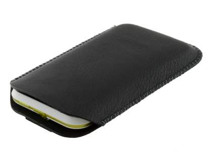 Synthetic Leather Slide-in Case with Pull-out Strap for Motorola DEFY XT535 - Classic Black