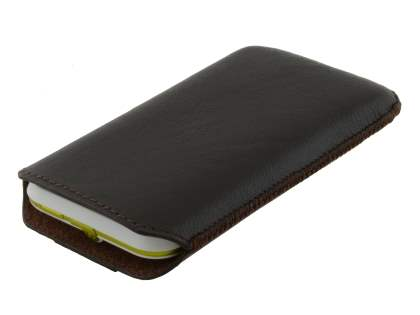 Genuine Leather Slide-in Case with Pull-out Strap for Motorola DEFY XT535 - Classic Black