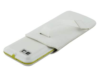 Genuine Leather Slide-in Case with Pull-out Strap for Motorola DEFY XT535 - Pearl White
