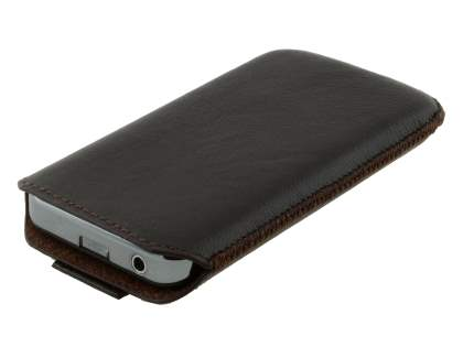 Genuine Leather Slide-in Case with Pull-out Strap for Samsung Galaxy Ace S5830 - Classic Black