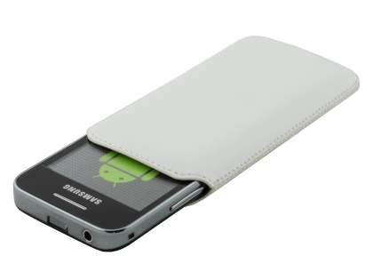 Genuine Leather Slide-in Case with Pull-out Strap for Samsung Galaxy Ace S5830 - Pearl White