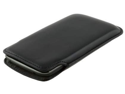 Genuine Leather Slide-in Case for LG Google Nexus 4 E960 - Classic Black