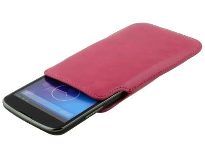 Genuine Leather Slide-in Case for LG Google Nexus 4 E960 - Hot Pink