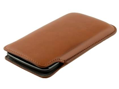 Genuine Leather Slide-in Case for LG Google Nexus 4 E960 - Brown