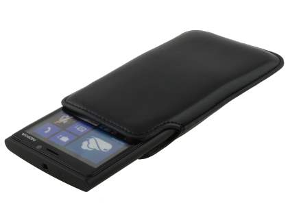 Genuine Leather Slide-in Case for Nokia Lumia 920 - Classic Black