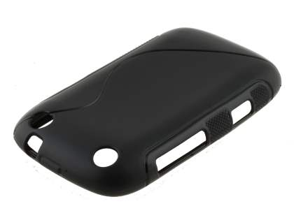Wave Case for BlackBerry Curve 9320 - Frosted Black/Black Soft Cover