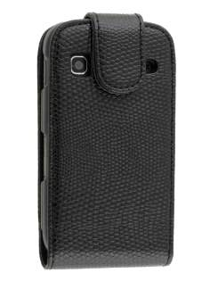Synthetic Snakeskin Leather Flip Case for Samsung Galaxy Gio S5660 - Classic Black Leather Flip Case