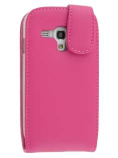 Genuine Leather Flip Case for Samsung I8190 Galaxy S3 mini - Pink Leather Flip Case