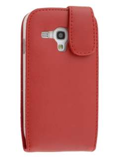 Genuine Leather Flip Case for Samsung I8190 Galaxy S3 mini - Red Leather Flip Case