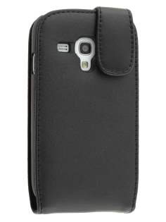 Genuine Leather Flip Case for Samsung I8190 Galaxy S3 mini - Classic Black Leather Flip Case