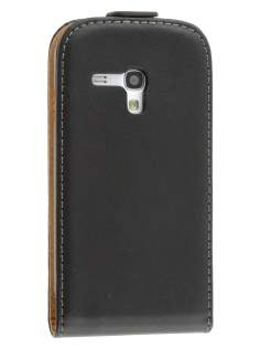 Slim Synthetic Leather Flip Case for Samsung I8190 Galaxy S3 mini - Classic Black Leather Flip Case